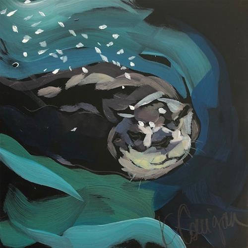 """Otter Speed Ahead"" original fine art by Kat Corrigan"