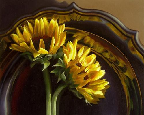 """Sunflowers on Silver Tray"" original fine art by Nance Danforth"