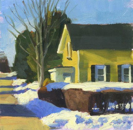 """Yellow house in snow"" original fine art by Kathy Weber"
