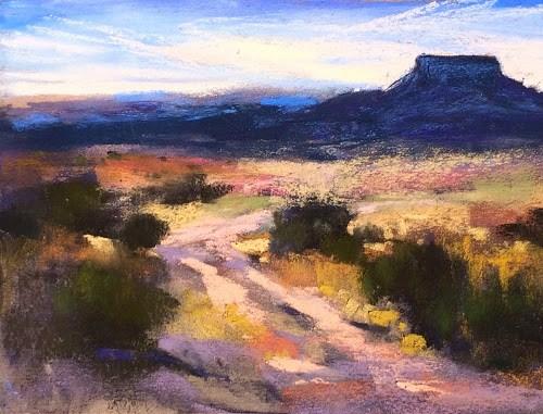"""Ghost Ranch ... Painting Pedernal and Interesting Skies"" original fine art by Karen Margulis"
