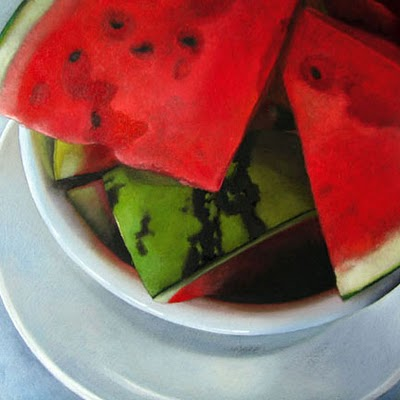 """Watermelon    6x6"" original fine art by M Collier"