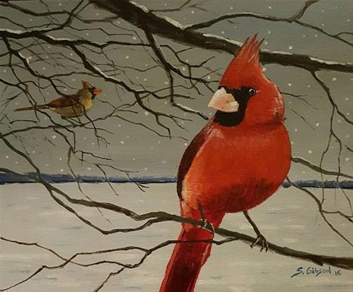 """""""December Birds"""" original fine art by Steve Gibson"""