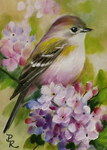 """Tiny Lilacs  ACEO"" original fine art by Paulie Rollins"