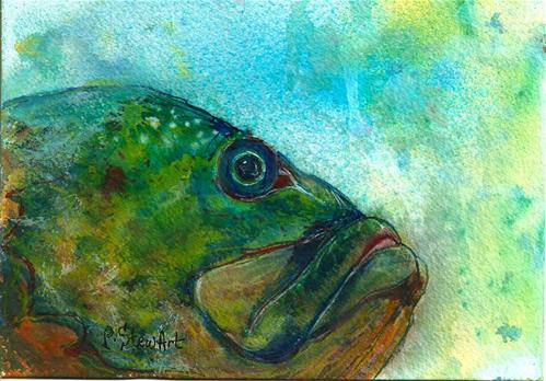 """""""5x7 Fish Under Water Watercolor and Ink on 300# paper Penny StewArt"""" original fine art by Penny Lee StewArt"""