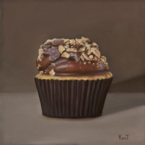 """""""Cupcake with Chocolate Frosting and Nuts"""" original fine art by Kim Testone"""