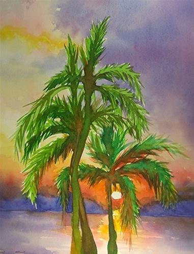 """Palm Tree Sunset, 8 x 10 Watercolor, Landscape"" original fine art by Donna Pierce-Clark"
