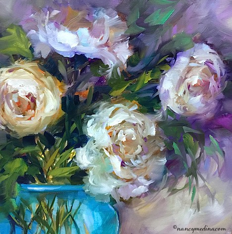 """The Moment - White Peonies"" original fine art by Nancy Medina"