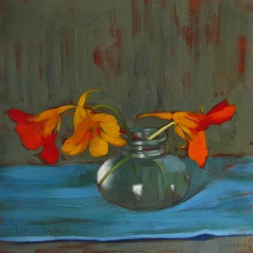 """Three in Sync small floral still life painting"" original fine art by Diane Hoeptner"