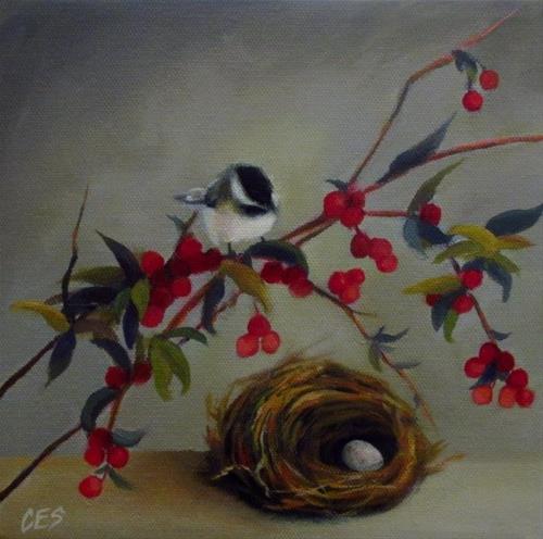 """""""Chickadee and Nandina"""" original fine art by ~ces~ Christine E. S. Code"""