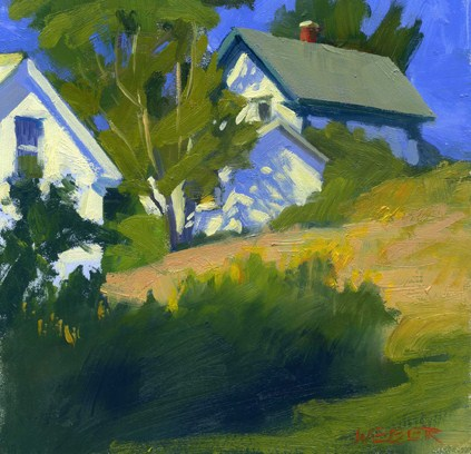 """""""House on a hill-sold"""" original fine art by Kathy Weber"""