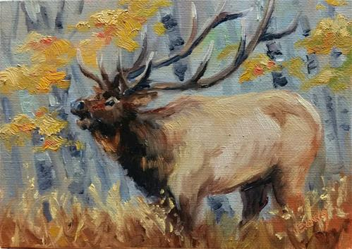 """Elk and Aspen"" original fine art by Veronica Brown"
