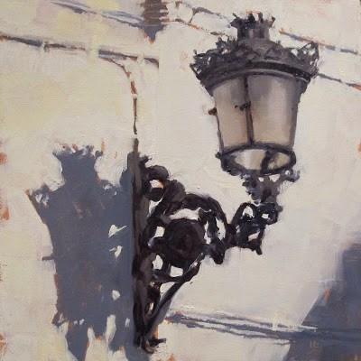 """STREET LIGHT #2 - Torrox, Spain"" original fine art by Helen Cooper"