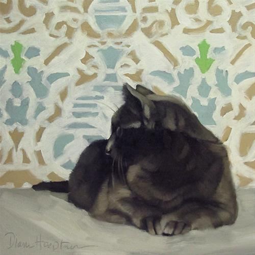 """Sideways Glance cat against victorian pattern"" original fine art by Diane Hoeptner"