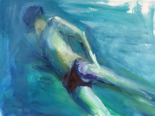 """""""Underwater Figure"""" original fine art by Sharon Savitz"""