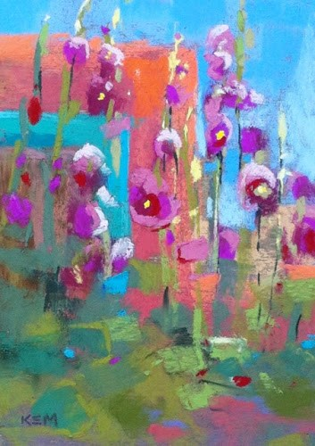 """Blue Skies and Hollyhocks...Last Day in Albuquerque"" original fine art by Karen Margulis"