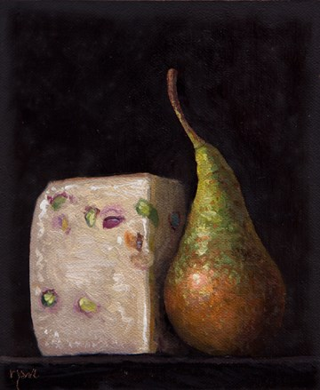 """Pecorino Busti al Pistaccio and Bosc Pear from Testaccio Market, Rome (Italy 2017 painting #3)"" original fine art by Abbey Ryan"