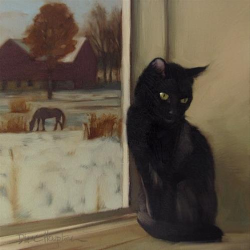 """""""Rural Recluse  a new cat painting"""" original fine art by Diane Hoeptner"""
