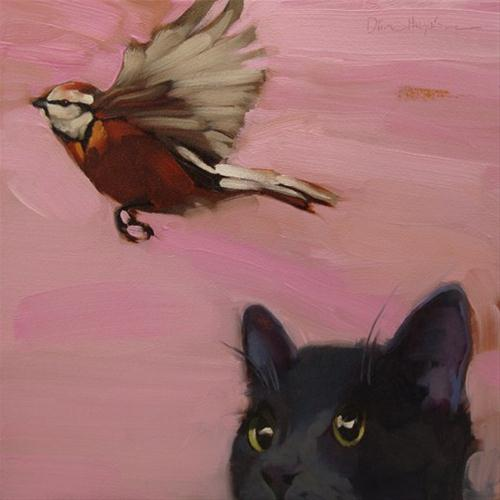 """""""The One that Got Away cat and bird painting"""" original fine art by Diane Hoeptner"""