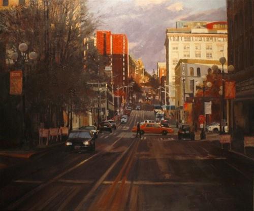 """Seattle City Street  cityscape oil painting by Robin Weiss"" original fine art by Robin Weiss"