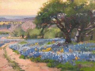 """Blue Path"" original fine art by V.... Vaughan"