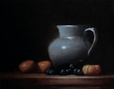"""Jug in Blue with Orange - study"" original fine art by Neil Carroll"