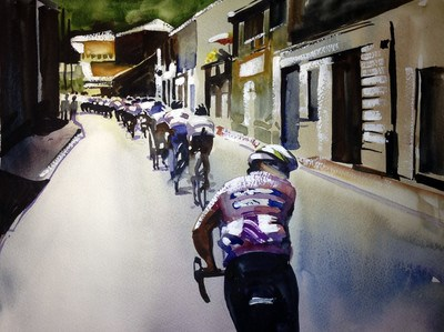 """The Rear of the Pelaton daily Le Tour de France painting by Shirley Peters"" original fine art by Shirley Peters"