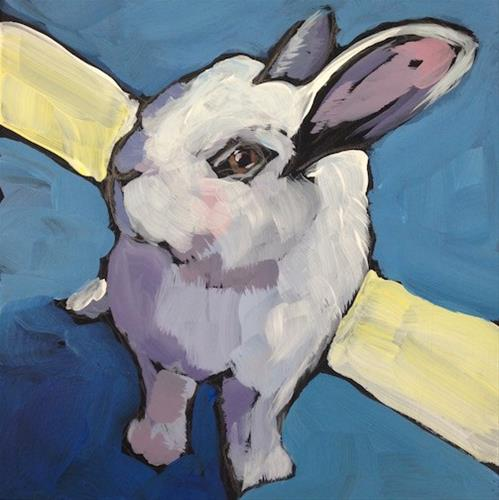 """White Stripe Bunny"" original fine art by Kat Corrigan"