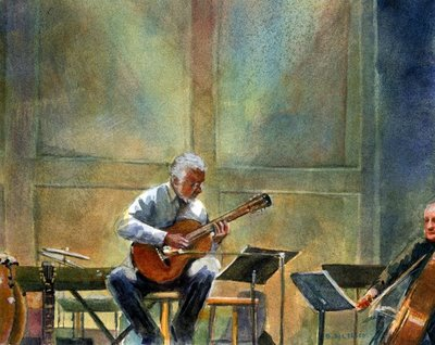 """Watercolor: Guitar Solo"" original fine art by Belinda Del Pesco"