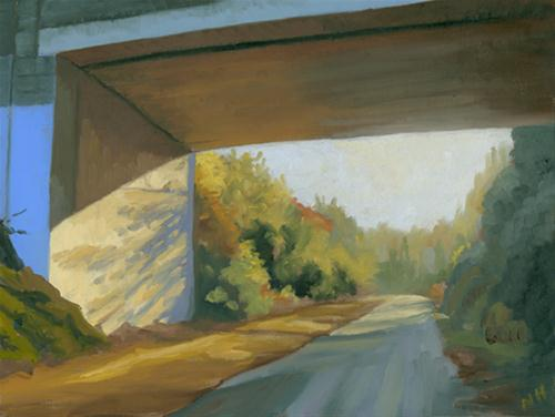 """UNDER THE BRIDGEA"" original fine art by Nancy Herman"