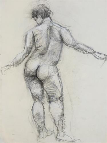 """Man's Gesture Drawing from Pennsylvania Academy of Fine Arts 2"" original fine art by Nava Judith"