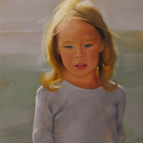 """""""Daughter small portrait painting of girl"""" original fine art by Diane Hoeptner"""