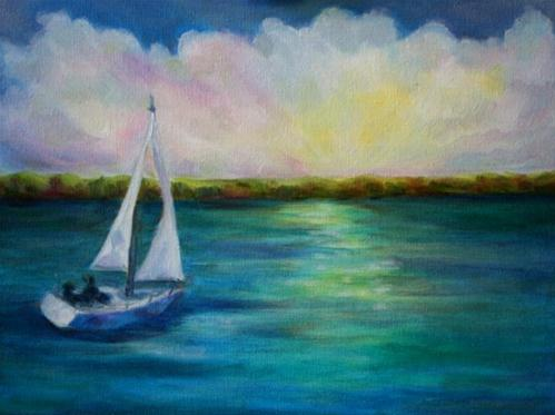 """Sailing Into The Sunset"" original fine art by Maggie Flatley"