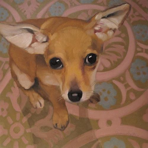 """Chewy is the cutest Chihuahua dog oil painting"" original fine art by Diane Hoeptner"