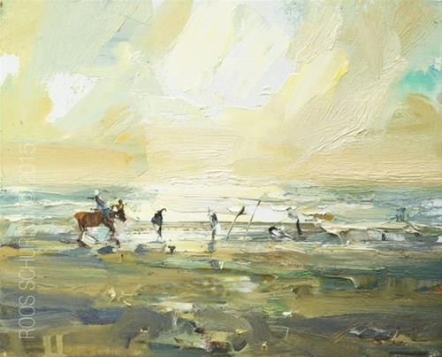 """""""Painting Horses at the Beach"""" original fine art by Roos Schuring"""