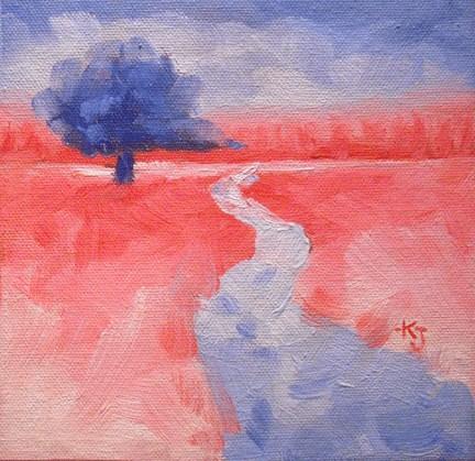 """#18 Lone Oak, Red Letter Day"" original fine art by Kathy Johnson"