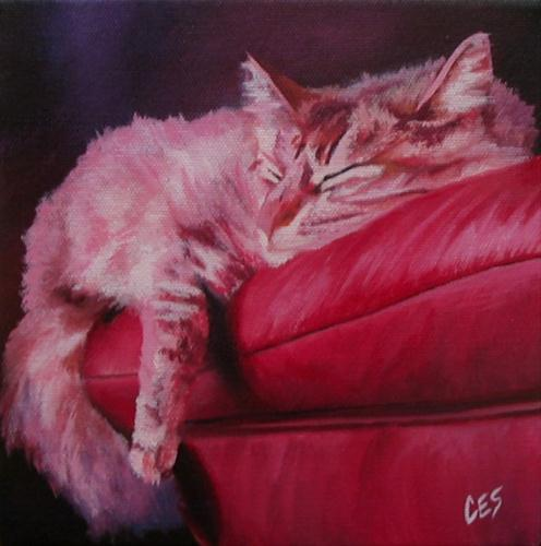"""""""Lounging on Leather"""" original fine art by ~ces~ Christine E. S. Code"""