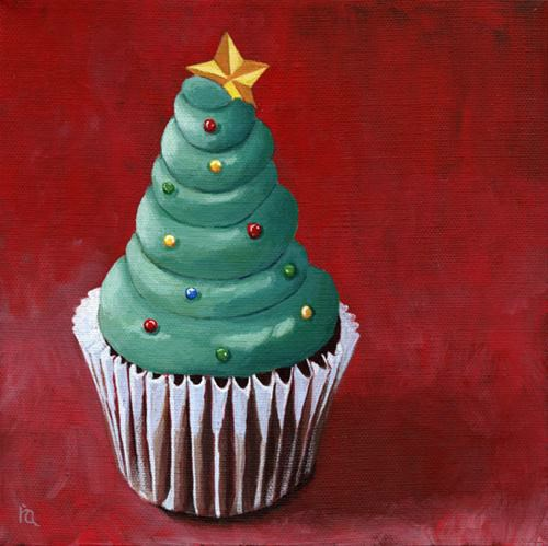 """Festive cupcake and SALE painting contest"" original fine art by Ria Hills"