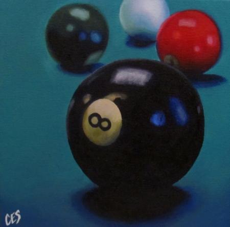 """Pool Balls 8, 3, 6, and Cue"" original fine art by ~ces~ Christine E. S. Code"