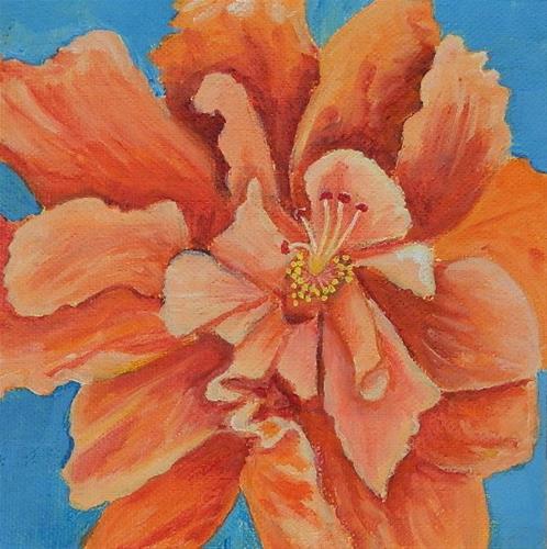 """Orange Double Hibiscus"" original fine art by Gloria Urban"