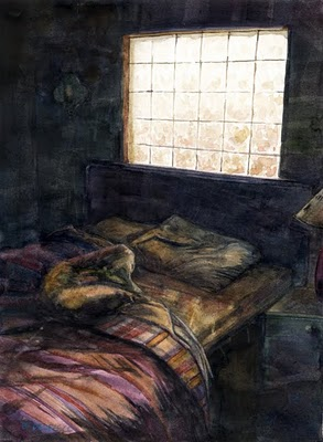"""""""Watercolor: You Don't Have to Make the Bed in Mexico"""" original fine art by Belinda Del Pesco"""