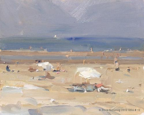 """Seascape summer # 12 Two white parasols - Strand"" original fine art by Roos Schuring"