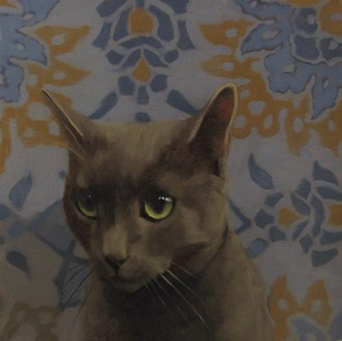 """Doe Eyed cat painting, it's Coco!"" original fine art by Diane Hoeptner"