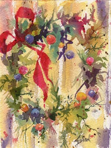 """""""Wreath 2"""" original fine art by Sue Dion"""