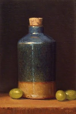 """""""Bottle with Green Grapes"""" original fine art by Abbey Ryan"""