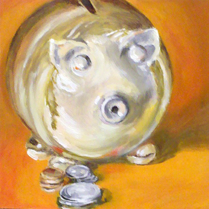 """Time to Feed the Piggy"" original fine art by Linda Lowery"