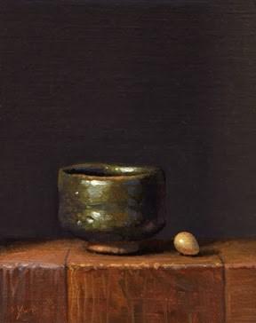 """Still life with Korean Bowl & Bird's Egg"" original fine art by Abbey Ryan"