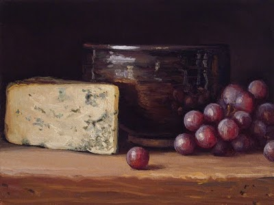 """""""Still Life with Bleu Cheese, Bowl, and Red Grapes"""" original fine art by Abbey Ryan"""