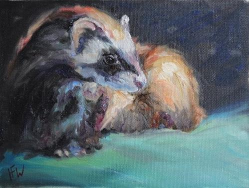 """""""Masked Ferret"""" original fine art by H.F. Wallen"""