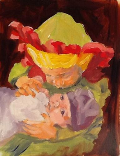 """Rosebud and the Flower Princess  5x7  oil"" original fine art by Christine Holzschuh"