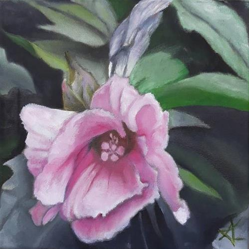 """Pink in green 87"" original fine art by Konstantia Karletsa"